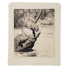 """Rodney Thomson (American, 1878-1941) """"The Watcher"""" Drypoint Etching Trial Proof c.1930"""