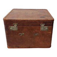 """Antique """"Your Chance"""" Leather Luggage Case, Shanghai, China c.1940"""