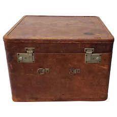 "Antique ""Your Chance"" Leather Luggage Case, Shanghai, China c.1940"