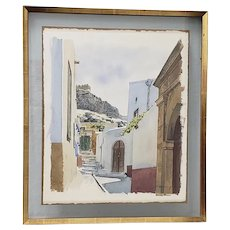 Merv Corning (1926-2006) Mediterranean Courtyard Original Watercolor