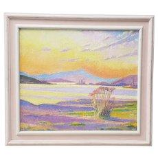 Vintage Desert Sunset Landscape Oil Painting 20th C.