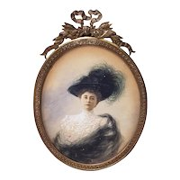 19th Century Portrait Miniature of an Elegant French Woman