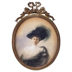 19th Century Portrait Miniature of an Elegant French Woman
