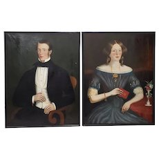 Pair of 19th Century Scottish Oil Portraits of a Young Couple
