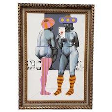 Arne Besser (American, b.1935) Two Hearts Original Oil Painting c.1970