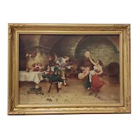 """Early 20th Century Lively """"Fiddle Break"""" Pub Scene Oil Painting"""