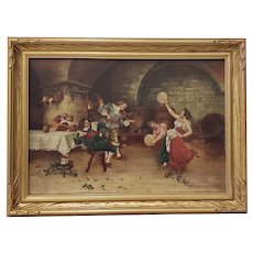 "Early 20th Century Lively ""Fiddle Break"" Pub Scene Oil Painting"