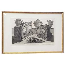 G.B. Piranesi Marble Urns and Vases and Lamps Etching c.1770
