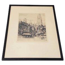"""Andrew Karoly (Hungarian, b.1893) """"Street of Rouen"""" Signed Etching c.1931"""