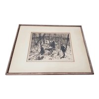 "John Edward Costigan (American, 1888-1972) ""Springtime"" Signed Etching c.1930s"