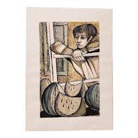 "Lucio Ranucci (Italy, b.1924) Original ""Boy with Watermelon"" Watercolor c.1968"
