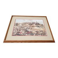 """Vintage """"Birdseye View of a Mining Town"""" Original Print by Nugent c.1989"""
