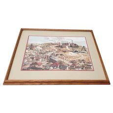 "Vintage ""Birdseye View of a Mining Town"" Original Watercolor by Nugent c.1989"