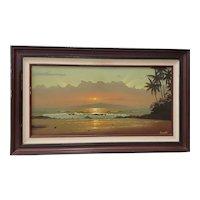 Ray Morissette (Hawaii, 20th c.) Hawaiian Sunset Oil Painting c.1970s