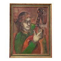 "Mid-Century Oil Painting ""Man with Guitar"" c.1950s"