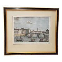 19th Century Antique Hand Colored Engraving of Florence, Italy After Giuseppe Zocchi