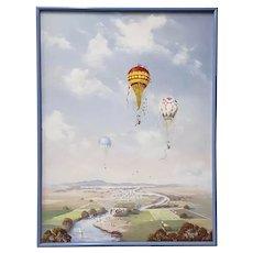 "Al Devens ""Balloon Festival"" Original Oil Painting c.1981"