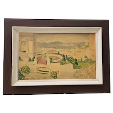 "Vintage San Francisco Watercolor ""View From Pacific Heights"" c.1940s"