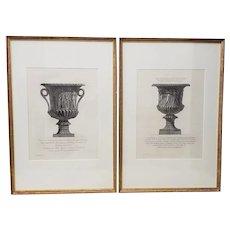 Giovanni Piranesi (Italian, 1720-1778) Pair of Framed Marble Vases Etchings c. 1770s