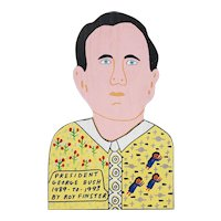 "Roy Finsters (American, 20th c.) ""President George Bush"" Vintage Outsider Art"