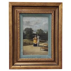 "Antique Oil Painting ""A Walk in the Park"" Late 19th to Early 20th Century"