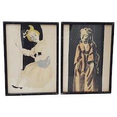 "Eugen Rentsch Verlag Marionettes ""Maria"" and ""Bastienne"" Lithographs c.1950"