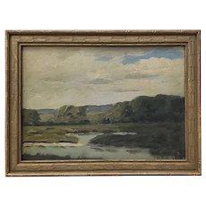 "Wellington Reynolds (American, 1865-1949) ""The Little Pond"" Original Oil Painting c.1910"