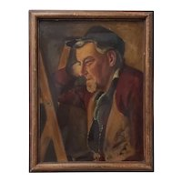 Early 20th Century Oil Portrait of a Man Leaning Against a Ladder