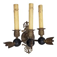 Antique Bronze Wall Sconce with Lions Head and Arrows