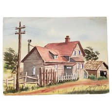 Vintage Watercolor of a Country Home c.1970s