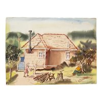 "Vintage Watercolor ""Country Chores"" c.1970s"