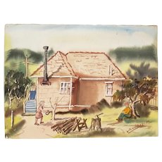 """Vintage Watercolor """"Country Chores"""" c.1970s"""