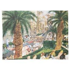 "Franklin McMahon ""Powell Street, San Francisco"" Original Watercolor c.1981"