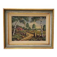 "Fine Vintage Oil Painting ""Country Road"" c.1950s"