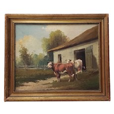 "19th Century Oil Painting ""Country Barn with Cattle"" by Vitallo"