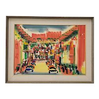 "Lewis Suzuki (California, b.1920) ""Chinatown"" Original Watercolor c.1960s"