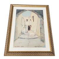 """Vintage Watercolor """"Algiers"""" by A. Filatoff c.1930"""