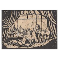 Vintage Woodcut - Harlequin Playing Flute