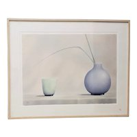 """Brilliant Contemporary """"Green Cup, Blue Vase"""" Lithograph Signed / Numbered"""