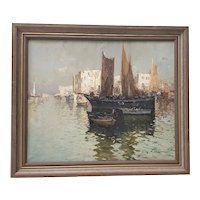"""G. Mariani (Italy, 20th c.) """"Bay of Naples"""" Original Oil Painting"""