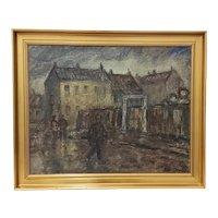 Emiel Hansen (Denmark, 1872-1952) Figures on a Cloudy Day Original Oil Painting c.1930