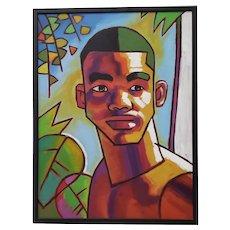 "Douglas Simonson (American) ""Handsome Young Man"" Original Acrylic Painting"