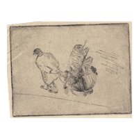 Rare 19th c Milnes Levick Etching - Man Pulling Cart