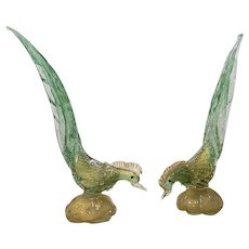 Matching Pair of Mid Century Murano Glass Birds c.1950s