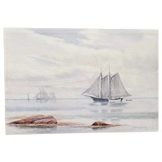 "Henry Peabody Flagg (American, b.1859) ""Sailing Ship"" Original Watercolor c.1910"