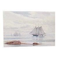 """Hiram Peabody Flagg (American, b.1859) """"Sailing Ship"""" Original Watercolor c.1910"""