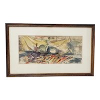 Victor Ing Mid Century Modern Abstract Still Life Watercolor c.1954