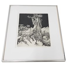 """Stan Washburn (California, 20th c.) """"Old Harry Lighting up the Pit"""" Original Etching c.1973"""