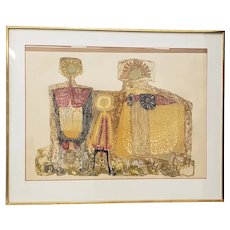 """Mid Century Modern """"Family Group"""" Etching with Aquatint c.1950s"""