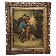 """Antique Oil Painting """"Pub Scene' c.19th Century"""